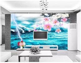 Custom Wedding Stickers Australia - 3d photo wallpaper High-end custom mural Silk wall sticker Cool lightning green seascape flower TV living room wall papel de parede
