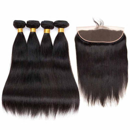 $enCountryForm.capitalKeyWord UK - Brazilian Remy Hair 4 Bundles With Frontal Straight Natural Black Cheap Human Hair With Frontal Closure Remy Human Hair Extensions