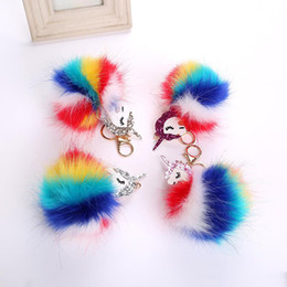 Chain Hot Boys UK - Free DHL Hot Sale Fluffy Unicorn Pony Keychain Fashion Pendant Cute Rabbit Fur Key Chain Women Bag Car Key Ring Hang Bag Jewelry