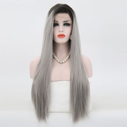 $enCountryForm.capitalKeyWord Australia - Hot Two Tones High Temperature Hair Ombre Grey Wig Natural Hairline Long Straight Hair Glueless Synthetic Lace Front Wigs For Black Women