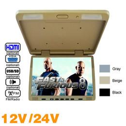 """Tft Speakers Australia - 3-Color DC12V 24v Truck Bus 17"""" TFT LCD Roof Mounted Monitor Flip Down Monitor For Car DVD Player USB FM Speaker VGA Video Input #1294"""
