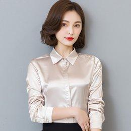 $enCountryForm.capitalKeyWord Australia - Women Simulate Silk Satin Shirt Long Sleeve Business Formal Shiny Blouse Tops Elegant Performance Wear