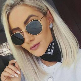 $enCountryForm.capitalKeyWord Australia - Vintage Glass Lens Reflective Sunglasses Women Classic Brand Designer Metal Frame Eyewear Fashion Mirror Hexagon Oculos De Sol