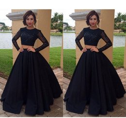 $enCountryForm.capitalKeyWord NZ - 2019 New Black Long Sleeves Two Piece Prom Dresses A-Line Jewel Neck Beaded Crystal Satin Tulle Formal Party Gowns African Prom Dress Custom
