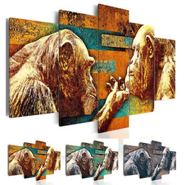classical couple paintings 2020 - 2019 Modern Abstract Animal Funny Apes Couple Oil Painting on Canvas for Living Room Decor Hotel Room Decoration,No Fram