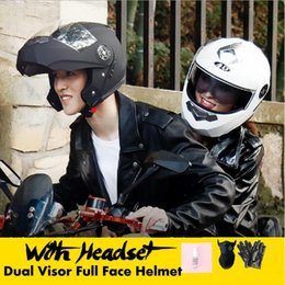 motorcycle helmet cool NZ - Motorcycle Dual Visor Full Face Helmet With Without bluetooth Music Headset Gloves Super-Cool Motorcycle Bike Off-road Helmet