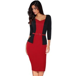 Wholesale beautiful work dresses for sale – plus size 2019 New Classic Two piece Professional Women s Large Size Sexy Bag Hip Pencil Dress Highlights The Beautiful Curve with The Belt