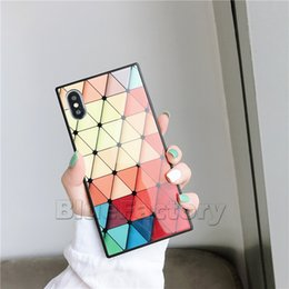 iphone colored glasses 2019 - Square Tempered Glass Phone Case For Iphone X XS XR XS MAX Glossy Colored Diamond Palette Vogue Luxury Cases Back Cover