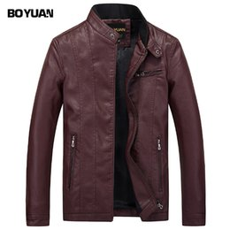 jacket cuero Australia - BOYUAN Leather Jacket Leren Jas Heren Chaquetas De Cuero Hombre 2017 Leather Biker Jackets For Men Black Jacket Men B627