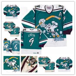 0899860cb Customize Men's 1995-96 Retro Anaheim CCM Mighty Ducks Wild Wing Paul  Kariya Teemu Selanne Karpov Game Worn Alternate stitched Jerseys