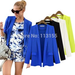 Blazers for women color Blue online shopping - fashion ladies new Autumn Blazer womens white Korean solid casual OL black loose suits for women blazers and jackets blue