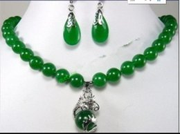 $enCountryForm.capitalKeyWord Australia - jewelry hot sell new - Fast SHIPPINGFashion Jewelry beautiful 10mm green jade earring dragon pendant Necklace