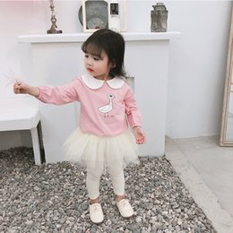 long collar shirts for girl 2019 - 2019 Spring New Arrival korean style cotton duck printed cute collar all-match long sleeve T-shirt for cute sweet baby g