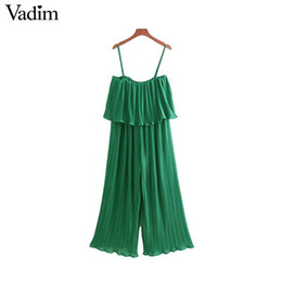 elastic chiffon jumpsuit NZ - Vadim Women Chiffon Green Pleated Jumpsuits Elastic Waist Ruffles Sleeveless Backless Rompers Female Solid Chic Playsuits Ka615 Y19060501