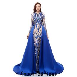 2019 novo azul royal lantejoulas sereia vestido de noite com mangas compridas destacável saia preto meninas mulheres evening party dress foto real em Promoção
