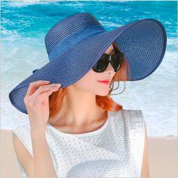 Black Blocks Australia - simple summer straw hat women big wide brim beach hat sun foldable sun block UV protection panama bone chapeu feminino