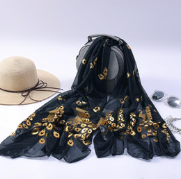 active wraps Australia - Silk Scarf Luxury Womens Scarves Brand Multi-color Peacock Flower Scarf Long Soft Wrap Shawl Stole Pashmina Silk Scarf Embroidered Scarves