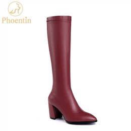 Sweet Female Boots Australia - Phoentin stretch fabric knee high boots women 2019 block high heels wine red long boots ladies female shoes sweet female FT597