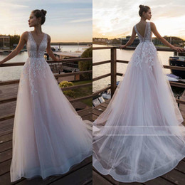 $enCountryForm.capitalKeyWord UK - Blush Pink Beach Wedding Dresses V Neck Lace Appliqued Boho Tulle A Line Bridal Gown Sleeveless Vestidos de Novia
