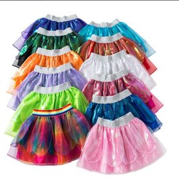 rainbow tutu wholesale Australia - Kids Designer Clothes Girls Rainbow Tutu Mini Dresses Baby Summer Solid Color Dance Skirts Princess Dress Christmas Party Stagewear E328