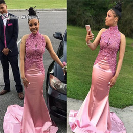 petite wedding gown pink Australia - Pink High Neck Prom Dresses South African Black Girls Formal Pageant Evening Party Gowns Custom Made