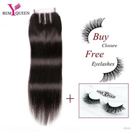 dream virgin hair NZ - K Dream Remy Queen Brazilian Virgin Human Hair Straight Free Middle Three Part Lace Closure 4x4 Inch Swiss Or Frence Lace 120 %Density