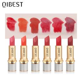 $enCountryForm.capitalKeyWord Australia - Qibest matte lipstick 6 colors sexy red brown orange pumpkin cream waterproof smooth moisture lipstick pencil QB040
