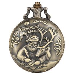 $enCountryForm.capitalKeyWord Australia - Bronze Christmas Theme Quartz Pocket Watch Santa Claus Elk Display Retro Necklace Chain Clock Gifts for Men Women Kids