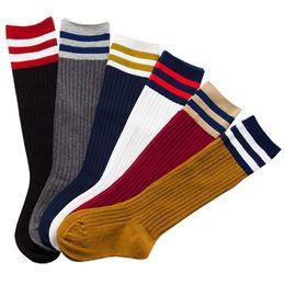 $enCountryForm.capitalKeyWord Australia - Kids Cotton Sports Socks Striped Thick Knee High Long Football Socks for 1 To 9 Years Children Basketball Walking Running Sock