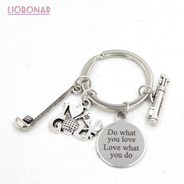 $enCountryForm.capitalKeyWord Australia - New Arrival Stainless Steel Jewelry Sport I Love Golf Key chain Keyring keychain Golf Club Lovers Gifts for Men Women Jewelry