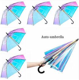 Magic Handle NZ - Women Umbrella Plastic PVC Holographic Laser Magic Umbrella Men Fashion Rain Sunshade Long Handle Windproof Transparent Umbrella Gifts