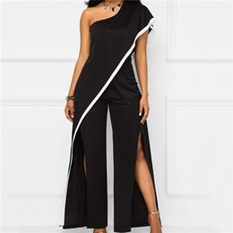 Black Halter Jumpsuits Women NZ - One Shoulder Black Wide Leg Jumpsuit Women Summer Loose High Split Long Pants Romper Ladies Elegant Evening Jumpsuits Outfits