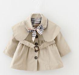 Опт Newfashion одеть Новорожденного Малыша девушки весна нагрудный Пояс Ветровка Пальто Верхняя Одежда Куртка детская одежда для девочек бесплатная доставка