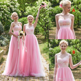 Red Mixed Bridesmaid Dresses NZ - New Pink Lace Bridesmaid Dresses 2019 A Line Sleeveless Floor Length Mixed Styles Wedding Party Dresses Cheap Summer Boho Maid of Honor Gown