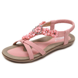 flat tie clip NZ - Women Summer Open-Toe Flat Sandals Clip Toe Slipper Flip Flops Flower Beads Casual Thong Shoes Shoes