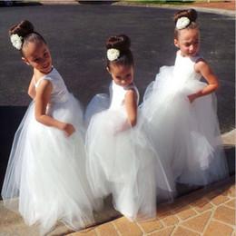$enCountryForm.capitalKeyWord Australia - White Princess Long Flower Girls Dresses 2019 New Design Hot Selling Custom Backless Floor Length Ball Gown Tulle Girl Birthday Gowns F020