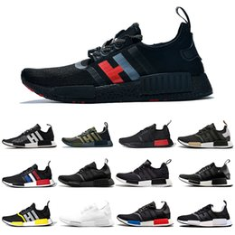 military running shoes NZ - Red Marble NMD R1 Mens Running Shoes Military Green Oreo atmos Bred Tri-Color OG Classic Men Women Thunder Sports Trainer Sneakers 36-45
