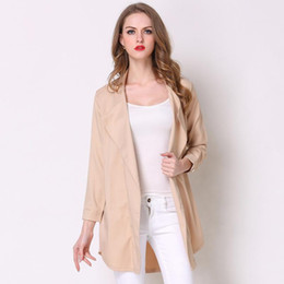 $enCountryForm.capitalKeyWord NZ - Nice Plus Size Women Trench Coat Spring Fashion Khaki Sky Blue Lapel Long Sleeve Ladies Clothes Casual Outerwear Coats Windbreaker