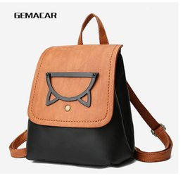 $enCountryForm.capitalKeyWord NZ - Fashion Popular Female Backpack Hit Color Pu Leather Casual Zipper Bag Long Shoulder Strap Cute Student Out Cell Phone Bag Girl