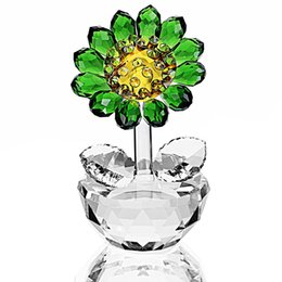 $enCountryForm.capitalKeyWord Australia - H&d Christmas Gift For Her,crystal Sunflower Figurine Dreams Ornament Paperweight Lucky Unfading Bouquet Sculpture Home Decor J190713