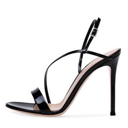 Sandalias de cuero de patente de verano Correa del tobillo Zapatos de  vestir de tacón alto Tacones desnudos 10cm Zapatos azules Mujer 0d5228c79493