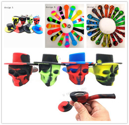 Cigarette holders online shopping - Euramerican popular smoking pipes camouflage skull silicone tobacco pipe portable cigarette holder smoking sets man gifts