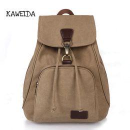 b995113304f1 2019 FashionKAWEIDA Women s Canvas Fashion Backpacks Vintage Casual Purse  Knapsack Bag School Girls Travel Multipurpose Bag Large Rucksack