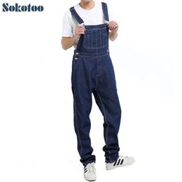 jumpsuits comfortable NZ - Sokotoo Men's Casual Loose Pocket Overalls Comfortable Denim Jumpsuits Plus Big Size Jeans For Man Blue Pants Y19072301