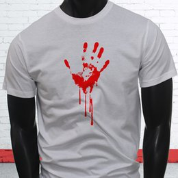 145d0f9443 Bloody Hand Scary Halloween Dripping Murder Death Mens White T-Shirt Cool Tops  Men S Short 2018 Newest Men S Funny Top Tee