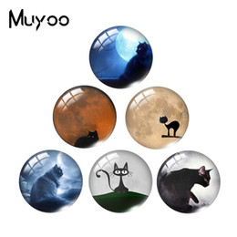 $enCountryForm.capitalKeyWord Australia - 2019 New Moon And The Black Cat Class Dome Cabochon Glass Cabochons Art Hand Craft Photo Jewelry charm popper for bracelet