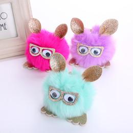 $enCountryForm.capitalKeyWord Australia - Free DHL Cute Glasses Owl Keychain Fashion Pompom Keyrings Hair Ball Keychains Car Key Holder Pendant Keyfob Accessories 11 Styles H576Q F