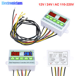 12v Digital Meter Australia - ST3012 Digital LED Dual Thermometer Temperature Controller AC 12V 24V 110V 220V Microcomputer Regulator Sensor Control Meter