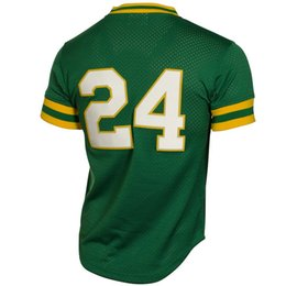 baseball jersey sizing Canada - MEN'S OA #24 Henderson Green Mesh EMBROIDERY THROWBACK BASEBALL JERSEY SIZE S M L XL 2XL 3XL