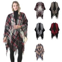 Pullover shawl online shopping - Women Wool Scarf Cardigan cm Patchwork Plaid Poncho Cape Tassel Winter Warm Blanket Cloak Wrap Shawl outwear Coat LJJA2983